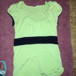 Lime green and black Blouse Sz l