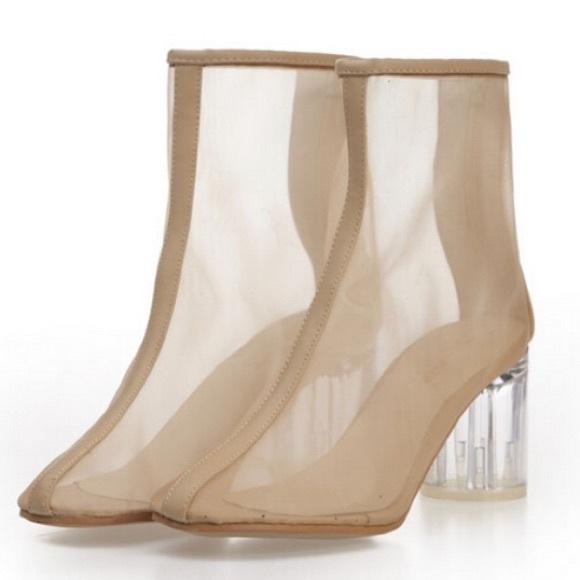 3d7307c0ef8c Clear Perspex Low Heel Mesh Booties