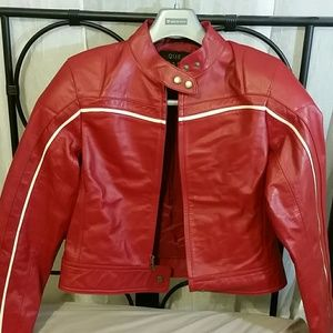 Que Jackets & Blazers - Genuine Leather Red Motorcycle Jacket