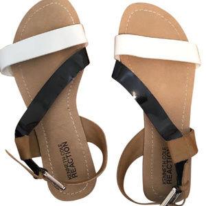 Cute Kenneth Cole Reaction Sandals Black/White/Tan