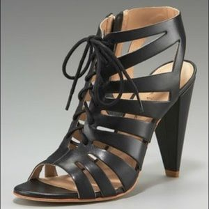 Pour la Victoire Shoes - Pour La Victoire Lace Up Cage Heeled Sandals 8