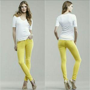 Hudson Super Skinny Lemon Yellow Jeans 26