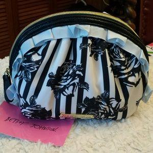 Betsy Johnson  Handbags - Betsy Johnson NWT Black Rose Nylon Cosmetic Case