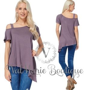 Purple one cold shoulder top