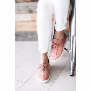 Shoes - Blush Faux Suede Slip On Sneakers