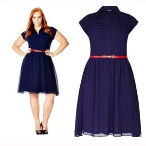 """City Chic Dresses & Skirts - City Chic blue """"Pleated Front"""" dress"""