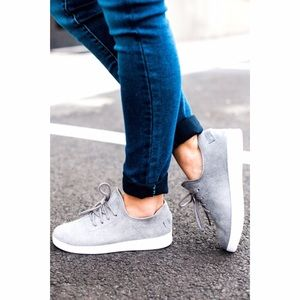 Shoes - Gray Faux Suede Slip On Sneakers