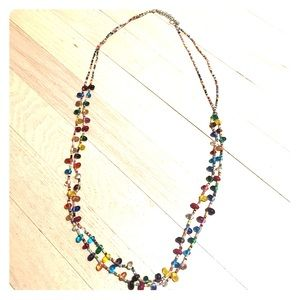 Double Strand Multicolor Long Layering Necklace