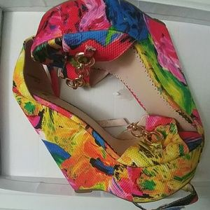 shoedazzle Shoes - Tropical Floral super wedge pink green yellow