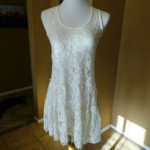 A'Reve Dresses & Skirts - White lace, see through dress. Perfect for layerin