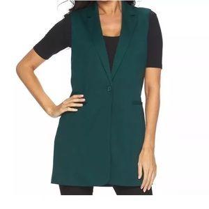 Apt.9 Jackets & Blazers - Green Long Vest Sleevless Blazer Jacket button NWT