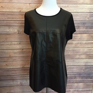 Vince camuto leather panel t shirt