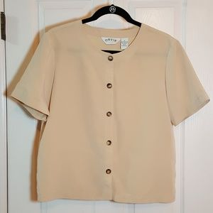 Orvis Tops - Orvis Pale Yellow Short Sleeve Blouse