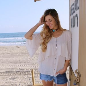 Tops - tiered button up top