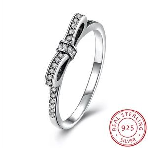 Jewelry - Sterling Silver Diamond Bow Ring