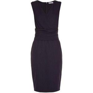 MaxMara Navy Pinstripe Nervi Dress