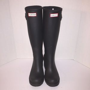 Hunter Boots Shoes - Hunter Refined Black Matte Wedge Rainboots sz 10