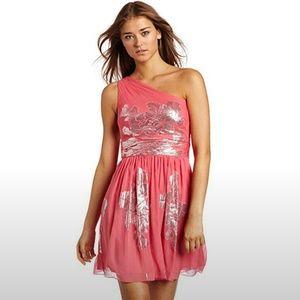 Eliza J Dresses & Skirts - Eliza J Womens Metallic SILK Chiffon Dress Coral