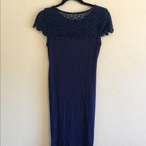 PattyBoutik Dresses & Skirts - Lace Shoulder Full Length Dress