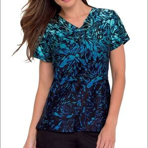 Landau Tops - Beautiful Ombré Blue Scrub Top