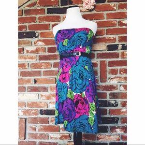 Betsey Johnson Floral Rose Garden Strapless Dress8