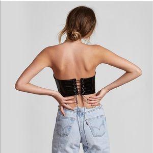 37055105530 Danielle Guizio Tops - Danielle Guizio patent leather lace up top