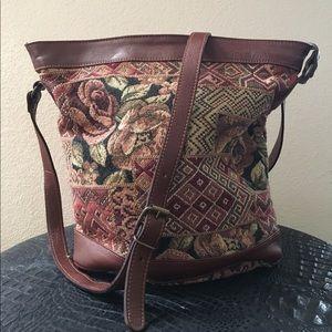 Vintage Smithsonian Floral Tapestry Bucket Bag