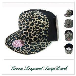 Green Leopard Snapback Cap