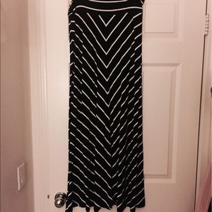 [Merona] Black & White Striped Maxi Dress