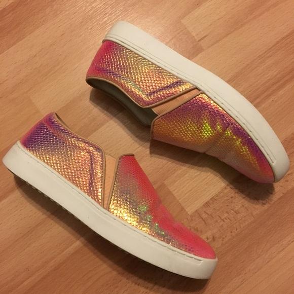 mango holographic pink snakeskin slip on sneakers from