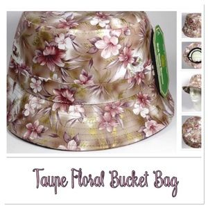 Taupe Floral Bucket Hat