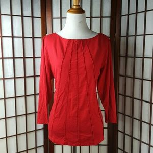 Liz Claiborne Tops - Liz Claiborne Boat Neck Red Blouse Top
