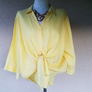 Investments  Tops - Investments Yellow Linen Top Size 2X