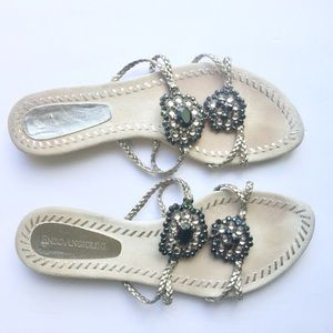 Enzo Angiolini Shoes - Enzo Angiolini Silver Sandals Flip Flops