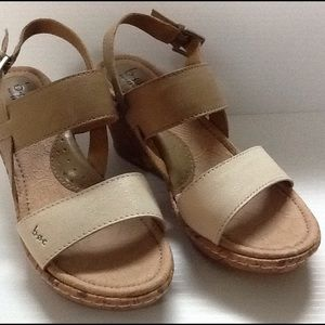 B O C Size 7 Boc Born Dianna Leather Wedge Sandals From