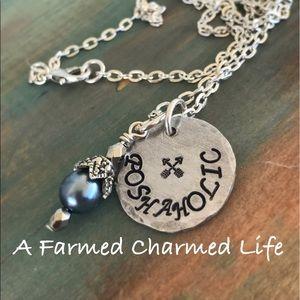 Jewelry - Poshaholic hand stamped necklace marketing