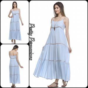 Pretty Persuasions Dresses & Skirts - NWT Baby Blue Crochet Trim Maxi Dress