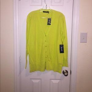 Eloquii Sweaters - Lime green sweatshirt button down