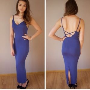 Boutique Dresses & Skirts - Soft Blue Criss Cross Back Maxi Dress