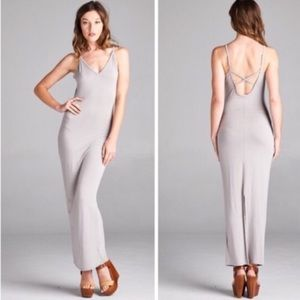 Boutique Dresses & Skirts - Soft Grey Criss Cross Back Maxi
