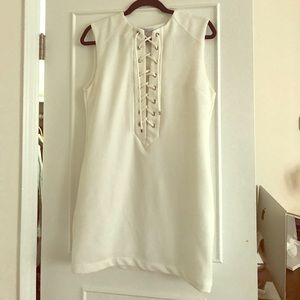 English Factory White Lace Up Dress