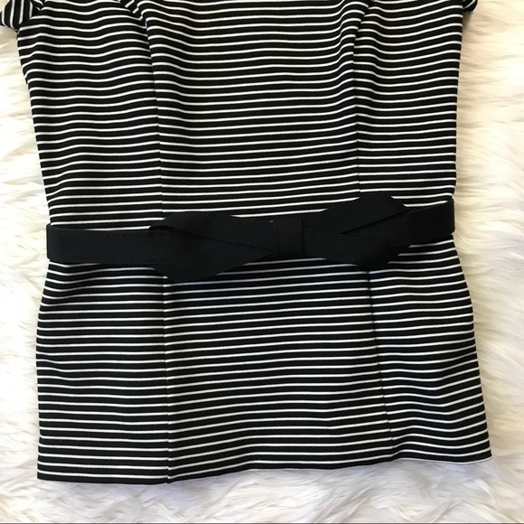 White House Black Market Tops - WHBM Black Striped Structured Belted Top