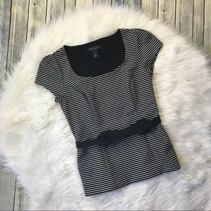 WHBM Black Striped Structured Belted Top