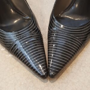 BCBGirls Shoes - Black and White Pinstripe BCBGirls Kitten Heels