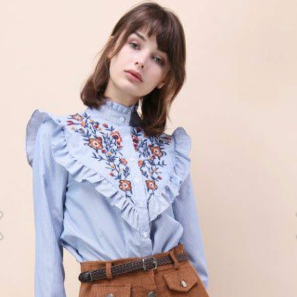 Chicwish Tops - Blue & White Striped Floral Embroidered Top