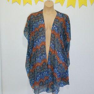 Tops - BOHO Sheer Open Front Kimono Best Fit L-2X U1