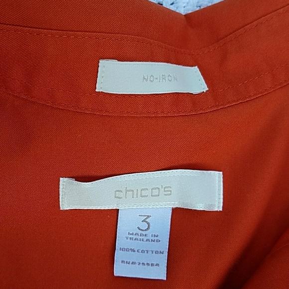 85 off chico 39 s tops chico 39 s orange no iron button up for Chicos no iron shirts