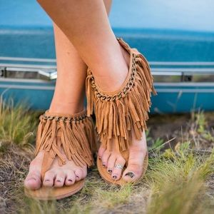 naughty monkey Shoes - Tan Fringe Detail and Chain Sandals