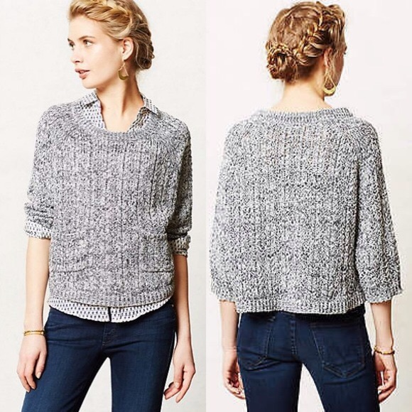 77% off Anthropologie Sweaters - MOTH Marled Swing Sweater Cropped ...