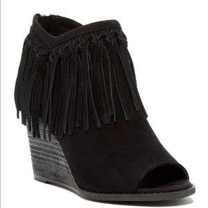 mari a Shoes - Peep toe suede wedge booties